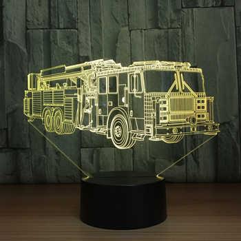 3D Fire Engine Modelling Table Lamp 7 Colors Changing Fire Truck Car Night Light USB Sleep Light Fixture Bedroom Decor Kids Gift - Category 🛒 Lights & Lighting