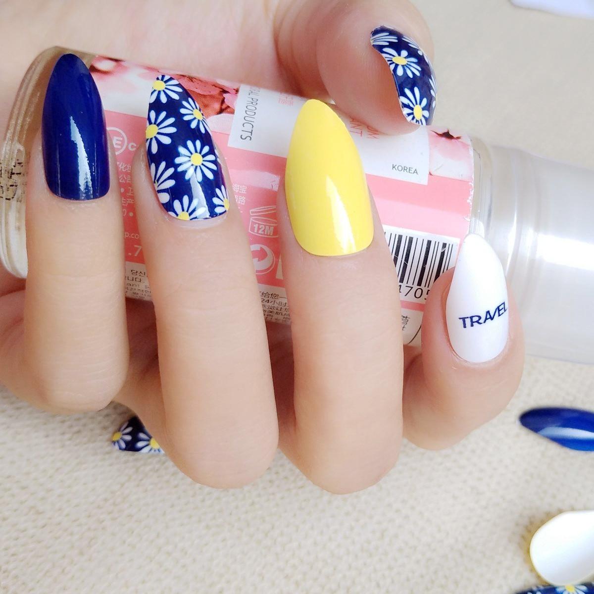navy blue white fake nail yellow