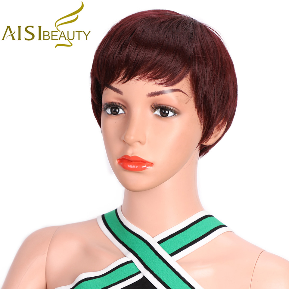 AISI BEAUTY Short Wigs For Women Natural Synthetic Red Pixie Cut Wig Costume Cosplay Party Hair Wig Black Brown Heat Resistant