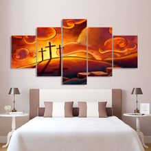 Wall Art Pictures Home Decoration Poster Frame 5 Pieces Comic Prints Jesus Crosses Living Room HD Printed Modern Painting Canvas