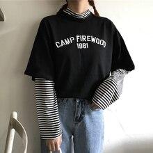 Striped High Neck Stitching Fake 1981 T-shirt Ins Chic Women