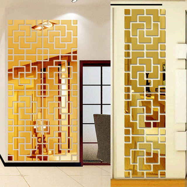 Diy living room decoration tv wall decal mirror effect wall ...