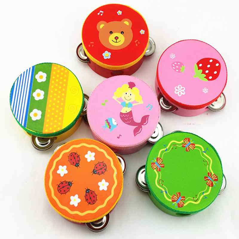 1Pcs 15CM Color Cartoon Animals Wooden Baby Hand Sound Bell Rattle Toys For Kawaii Kids Stuffed Toys For Children Animal Rattles