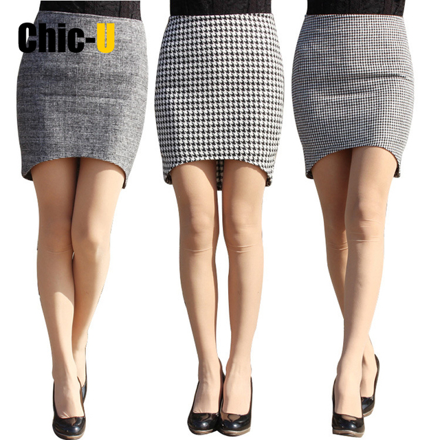 Womens Elegant Tartan Solid Work Business Casual Slim Stretch Fitted Bodycon Knee Length High Waist Pencil Skirt