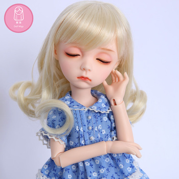 Wig For Doll BJD free shipping size 7-8inch high-temperature wig Sekino long hair bjd sd doll Wigs in beauty diy 1
