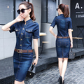 Zioksy 2017 Women Denim Dress Slim Casual Party Club Work Office Jeans Women Dresses Plus Size Ladies Robe Vestidos