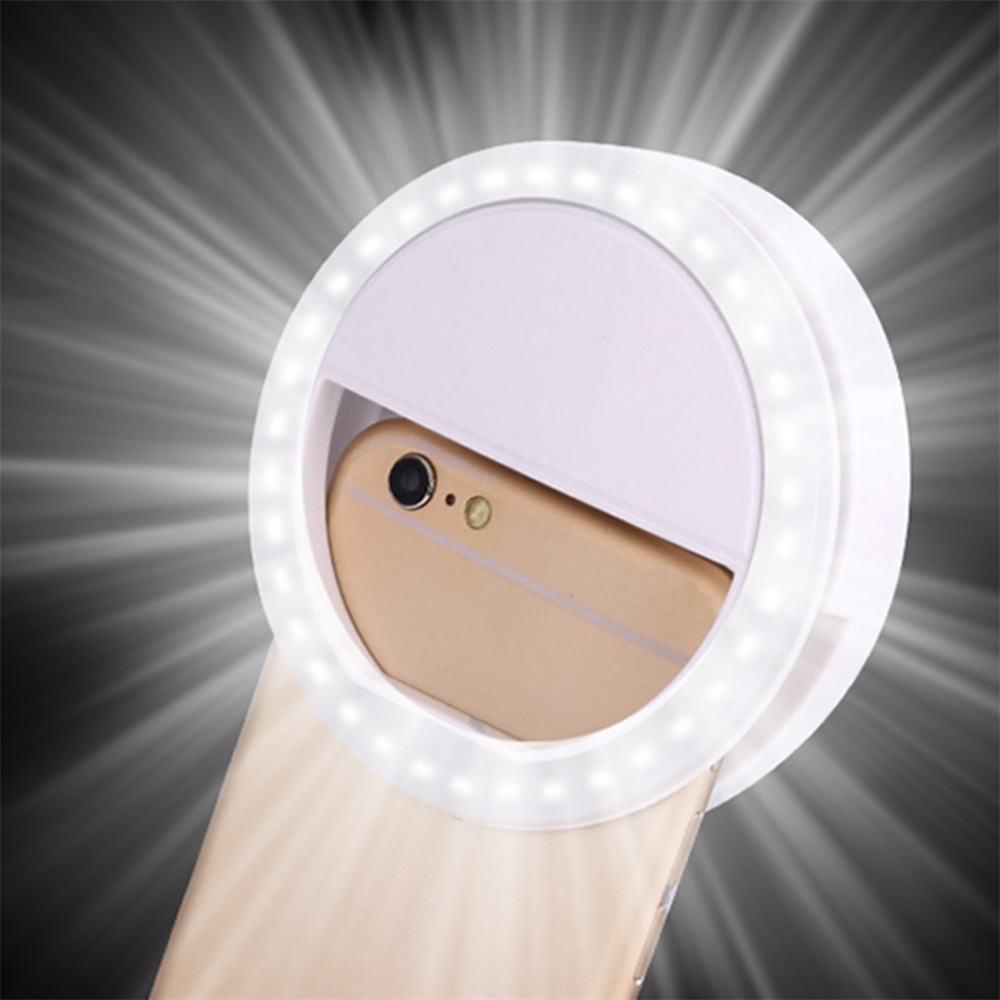 Universal Selfie LED Ring Flash Light Portable Mobile Phone 36 LEDS Selfie Lamp Luminous Ring Clip For iPhone 8 7 6 Plus Samsung(China)