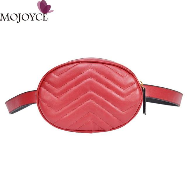 Women Luxury Design PU Leather Waist Packs Fanny Pack Handbag Oval Shape Shoulder Crossbody Bag Girl Shopping Zipper Waist Bags