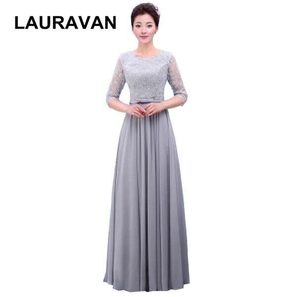 Robe de mariage adulte bleu gris manches longues robe de mariée simple gris bleu femmes robes de soirée motif dentelle pour une femme robes