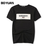 BOYUAN 2018 Summer Fashion T Shirt Men O Neck Short Sleeve Cotton T Shirt Men Tops