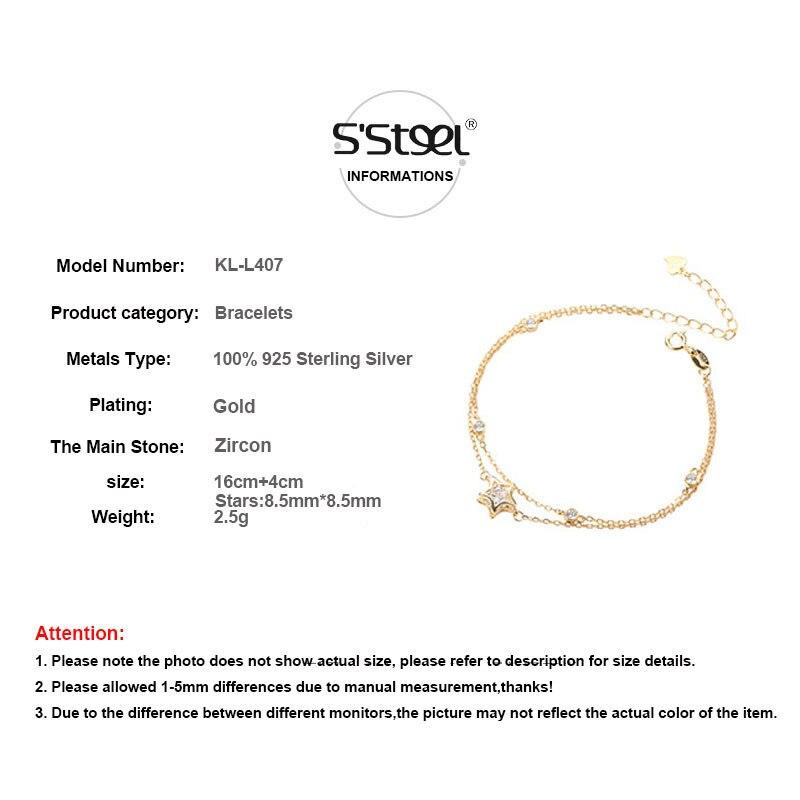 Hollow Pentagon Charms Bracelets 925 Sterling Silver Jewelry CZ Gold Color Star Bijoux Femme Bracelet Bangle For Women Girls in Charm Bracelets from Jewelry Accessories