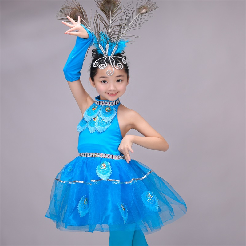 New Children Costumes Girls Dance Skirts Dai National Dance Peacock Dance Performance Clothing  (height90cm--160cm)