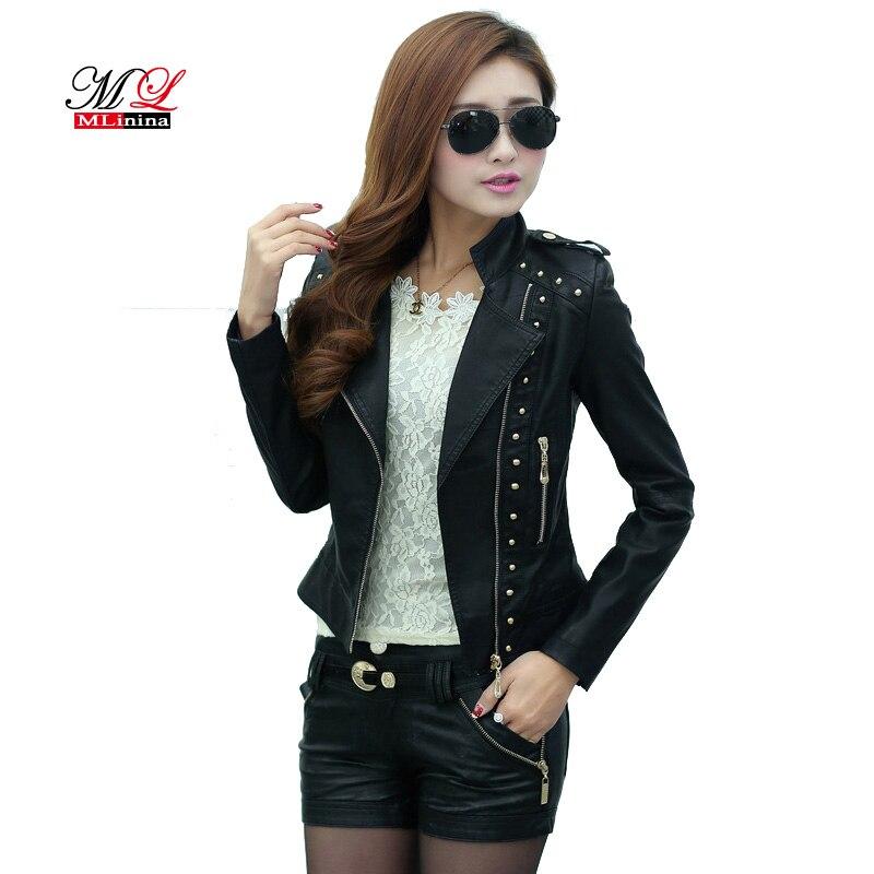 MLinina Autumn Women   Leather   Jackets Soft Pu Faux   Leather   Coats Slim Short Design Turn Down Collar Motorcycle Winter Outwear
