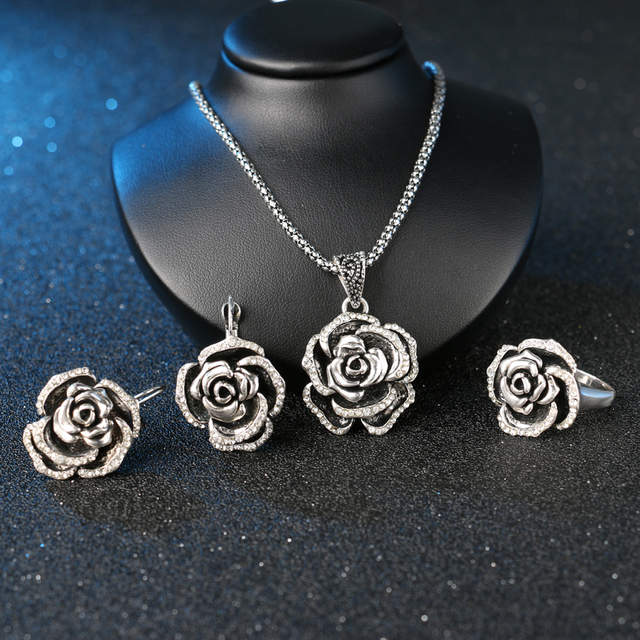 047aba178 Online Shop Luxury Vintage Women's Wedding Jewelry Sets Color Silver Turkey  Crystal Roses Ring Earring And Pendant Necklace For Women   Aliexpress  Mobile