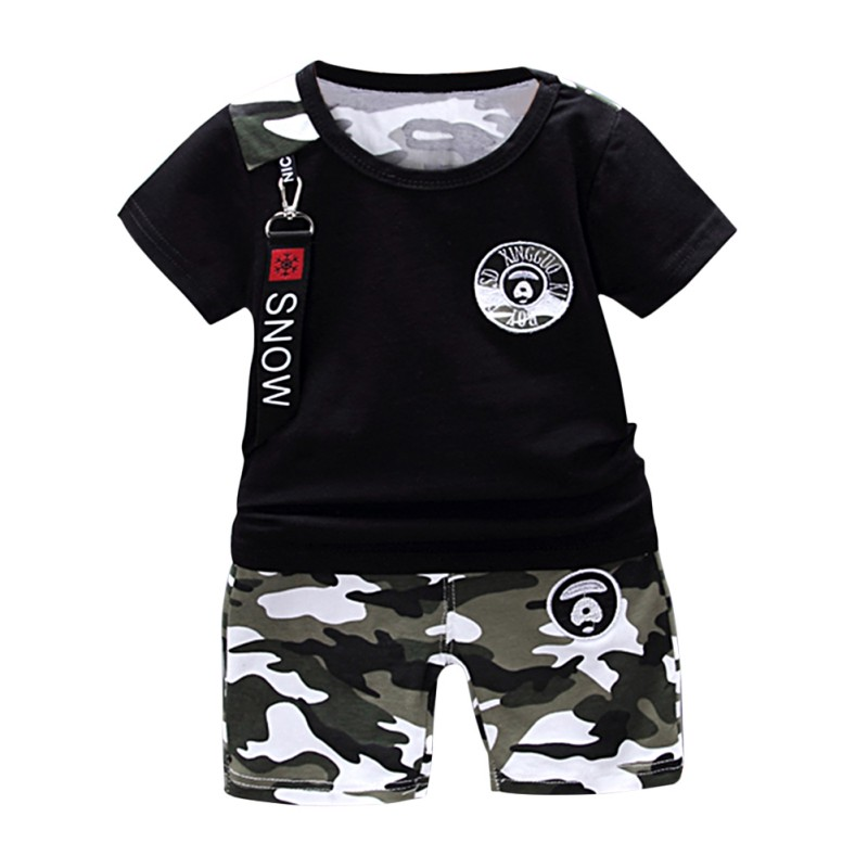 Kids Set T-Shirt Pants Outfits Shorts Baby-Boy Casual Camouflage Summer 2pcs New