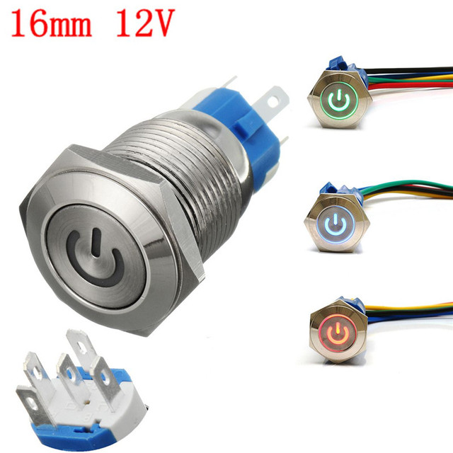 16mm 12V Metal Push Button Switch LED Latching On/Off ...