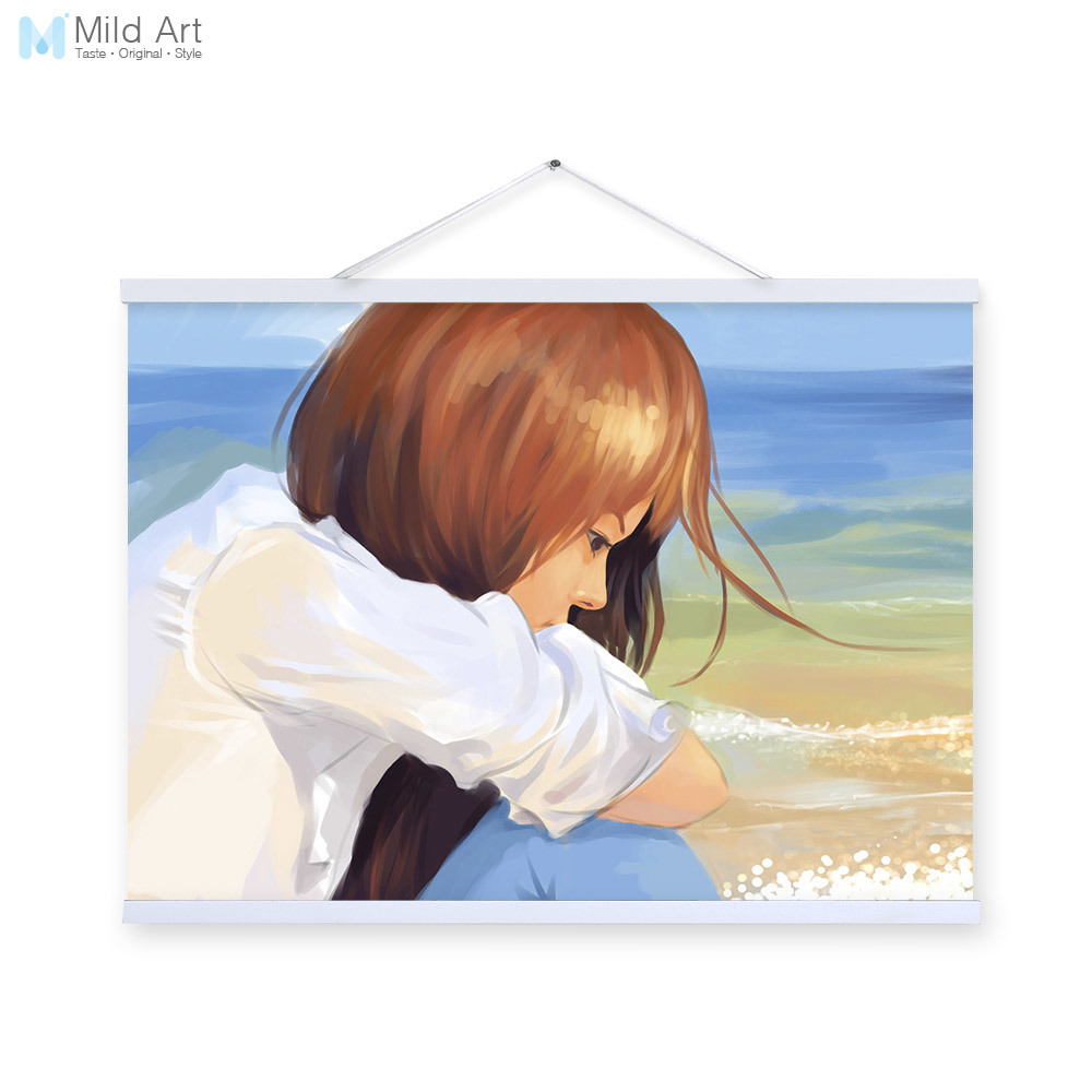 Sad Girl Blue White Modern Cartoon A4 Poster Prints Sea