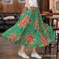 F ashion elegante Pteris Peony grande falda mujeres falda larga de algodón de lino falda de la señora