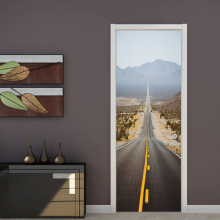 цена на Creative DIY Mural Spatial Expansion Highway Door Wallpaper Wall Sticker Living Room Bedroom Study PVC Wall Papers Home Decor