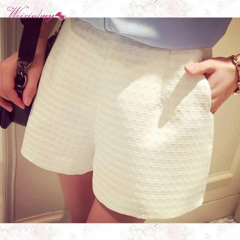 Summer Women Pocket Zipper Straight Crochet   Shorts   Casual Solid   short   High Waist Wide Leg   Shorts   S-XXXL Loose   short   plus size