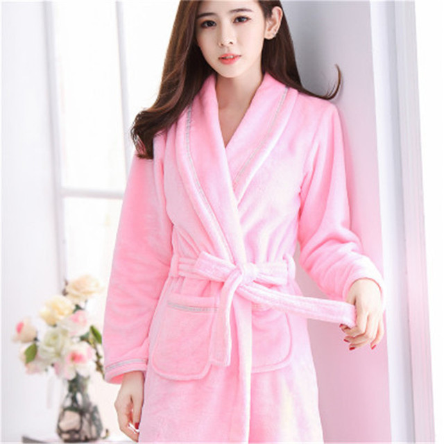fa1bbba499 Hot Sale Winter Lady Pajamas Bath Robe Sleepwear Womens Robes Coral Velvet  Bathrobes Women Cartoon Floral