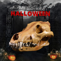 Halloween Home Decoration Accessories Resin Wolf Skull Sculpture Party Table Decoration Accessories Horror Wolf Skeleton Statue