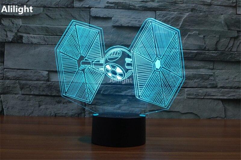 3d lampada di notte decor led lego star wars millennium falcon di