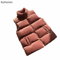 KoHuiJoo Autumn Winter Zipper Velvet Vest Women Casual Stand Collar Cotton Warm Sleeveless Jacket Coats Veste Femme Plus Size