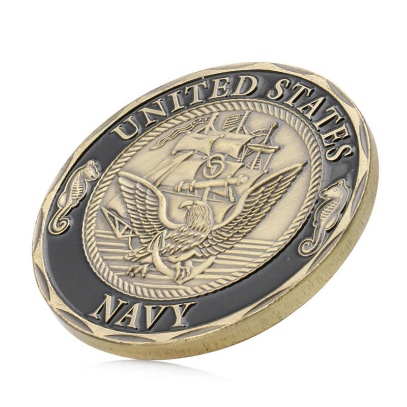Gold Plated U.S Navy Shellback Crossing The Line Sailor Commemorative Coin Gift