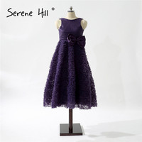 Grape Purple Ruffles Floor Length Flower Girl Dress with Bow 2018 New Girls Birthday Wedding Party Dresses Kids Real Picture