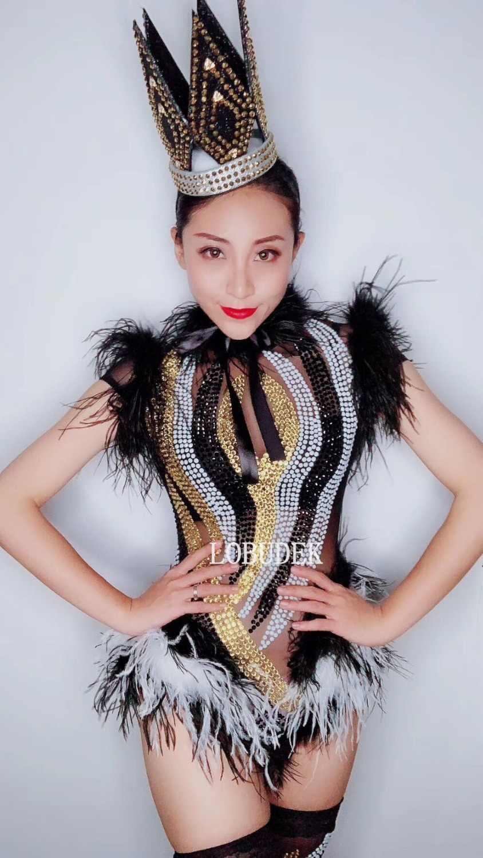 Сексуальное прозрачное черно-белое боди со стразами с перьями для женщин, певец, современный танцевальный костюм, сетчатая перспектива, шоу, сценическая одежда