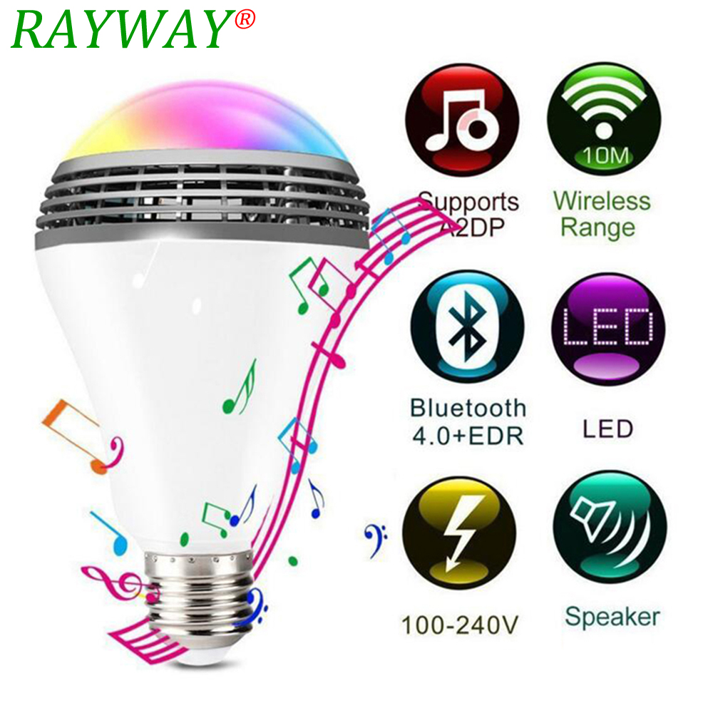 RAYWAY Smart LED Bulb Bluetooth Speaker LED RGB Light 5W E27 Base Wireless Music Player with APP Remote Control smart bulb e27 led rgb light wireless music led lamp bluetooth color changing bulb app control android ios smartphone