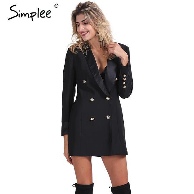 Simplee Одежды OL двубортный длинный костюм пиджак femme Осень прохладный тонкий белый дамы blazer Женщины пальто куртка повседневная верхняя одежда