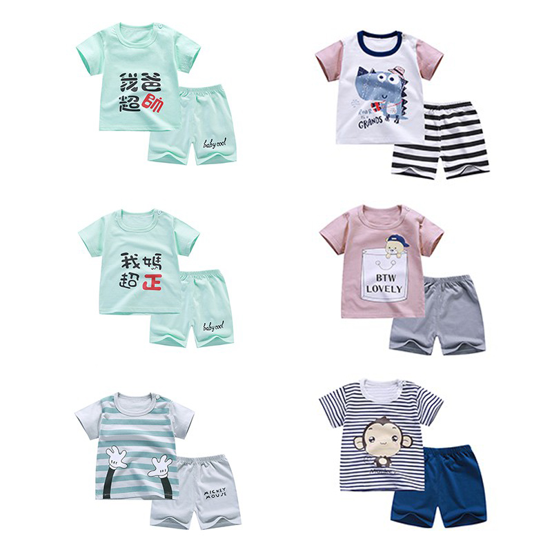 Baby Boys girls Clothing Set children Cotton cartoon short clothes girl & boy Clothes Set T shirt Pant 2PCS 2018 new 2pcs set baby clothes set boy