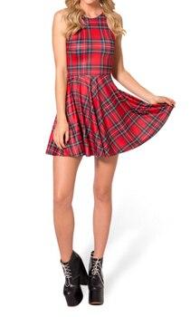 TARTAN RED SCOOP SKATER DRESS summer dress 2017 S M L XL Plus Size Sexy FASHION DRESSES