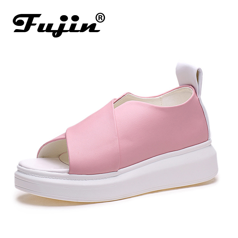 Fujin Brand 2018 Summer Shoes For Women Platform Sandals With High Heel Lady Leather Shoes Footwear Pink Leather Slip On Sandals