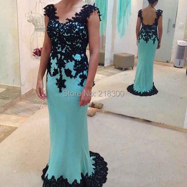fb296fb9e Sin espalda de Encaje Negro Turquesa Baile Vestidos Largos de Espalda  Abierta Sirena Azul Vestido de