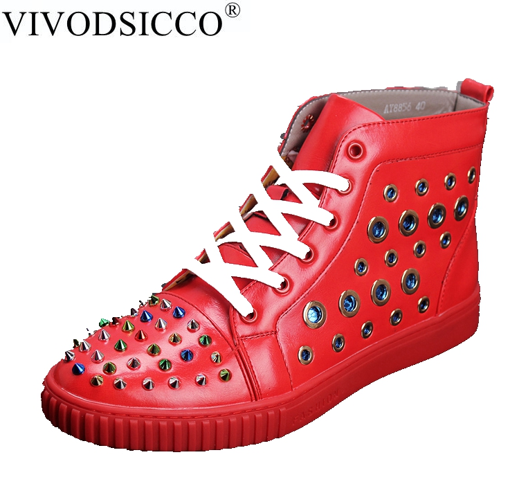 VIVODSICCO Men 's high Top Shoes In The Fall Trend Casual Rivets Shoes Men' s Shoes To Help High Dance Tide Zapatillas Hombre