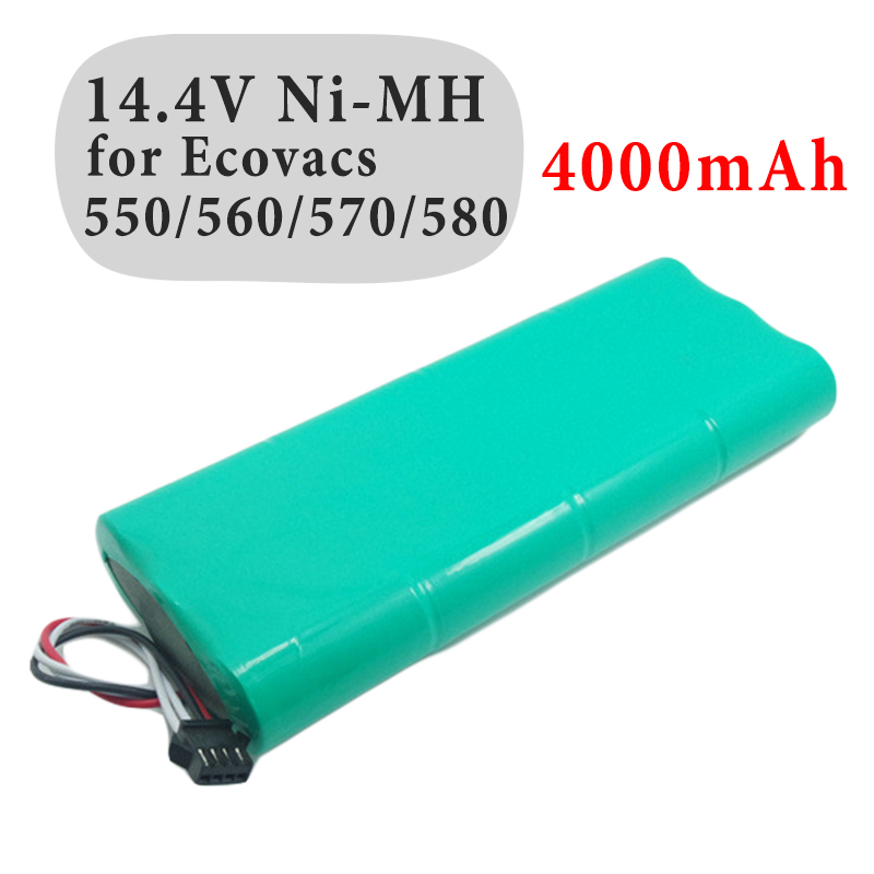 New Replacement 14.4V 4000mAh NI-MH Vacuum Cleaner Battery For Ecovacs Deebot D58/D56/D54/540/550/560/570/580 3500mah 14 4v cleaner battery for ecovacs deebot d54 deepoo d56 d58 with free side brush