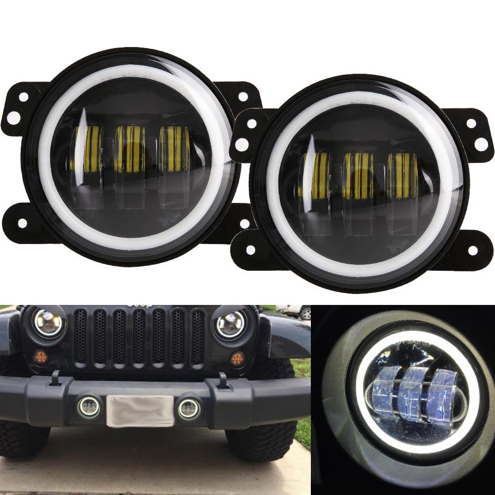 2PCS/Pair 4 Inch 30W LED Fog Light For Jeep Wrangler JK 07~14 High Power LED Fog Lamp Auto DRL Lighting Led Headlamp on sale 2pcs auto accessories 6500k 4inch 30w led fog lamp light fits for jeep wrangler jk 2007 2015