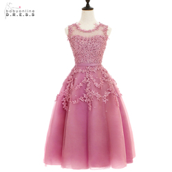 2016 dust pink beaded lace appliques short prom dresses robe de soiree knee length party evening.jpg 250x250