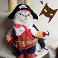 Divertido Gato Mascota Traje Traje de Pirata de Halloween Ropa Del Gato Cachorro Corsair Vestirse Partido Ropa para Gato, además de Sombrero 25