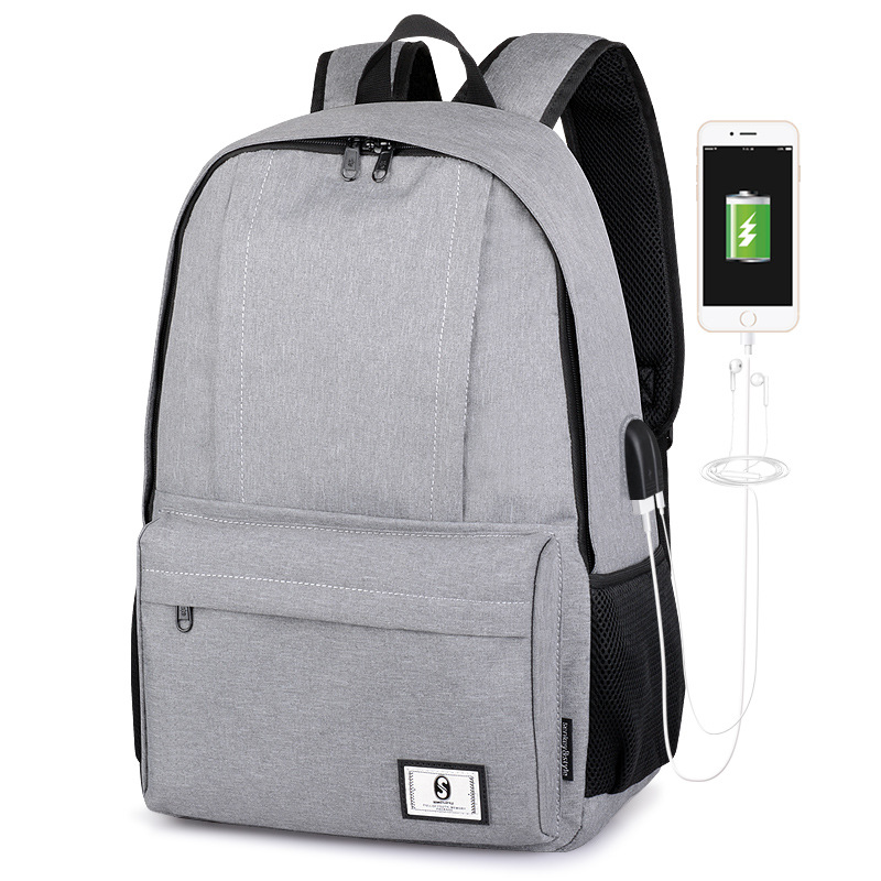 Fashion casual mens backpack, with USB,headphone function, large capacity , college school bag, free digital cable and ear