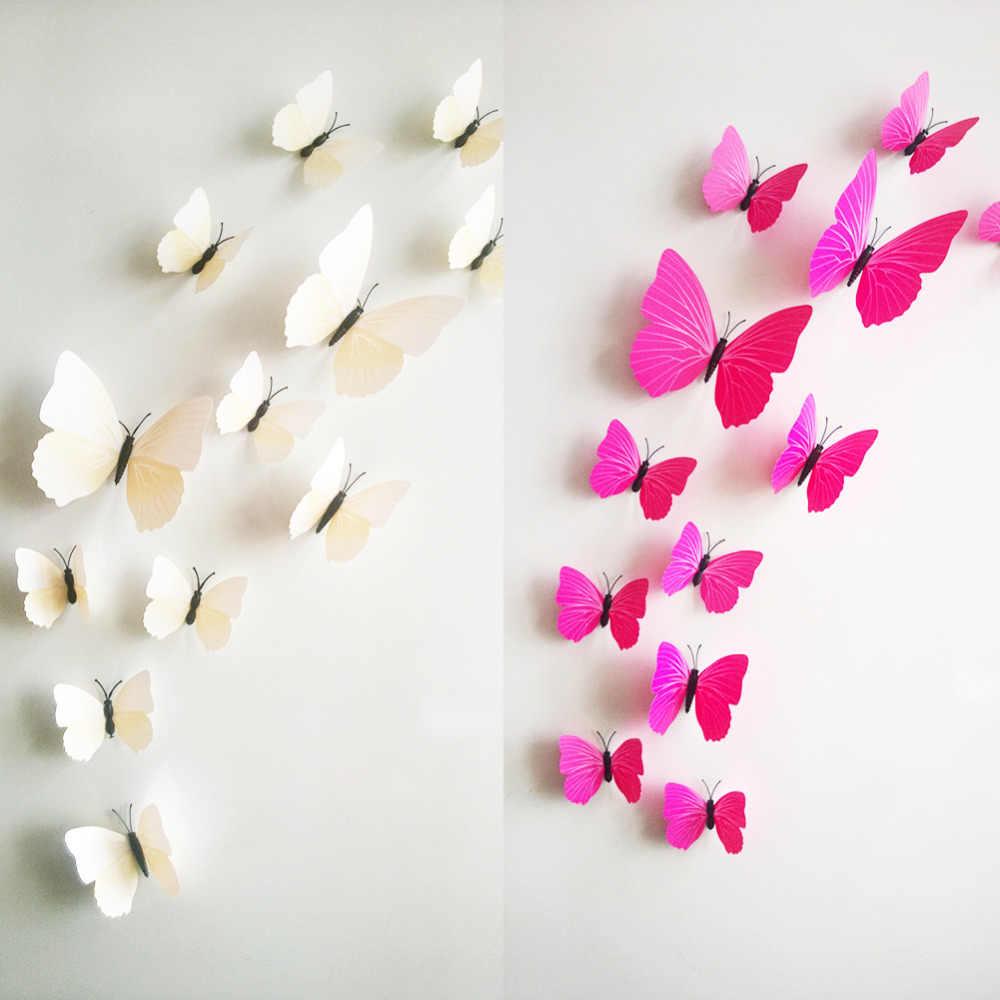 Hot Koop 3D Vlinder Muur Decals12pcs 6big + 6 Kleine Pvc 3D Vlinder Muur Sticker Voor Home Decoratie