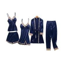 Summer Women Ice Silk 5PCS Sleepwear Set Sexy Strap Top&Shorts&Nighty&Robe&Pants Lingerie Suit Casual Home Clothes Nightwear(China)
