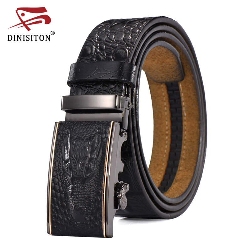 DINISITON Automatic Belt Genuine Leather Belts For Man Crocodile Pattern Designer Fashion Strap Casual Male Luxury Cinto Cro04A