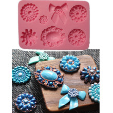 hot deal buy fondant cupcake mould silicone mold cake decorating tools chocolate molds christmas brooch diamond jewelry bowknots wilton