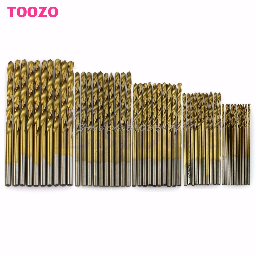 50Pcs Titanium Coated HSS High Speed Steel Drill Bit Set Tool 1/1.5/2/2.5/3mm 13pcs lot hss high speed steel drill bit set 1 4 hex shank 1 5 6 5mm free shipping hss twist drill bits set for power tools