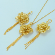 Flor sistemas de La Joyería, Oro amarillo Plateado Planta Colgante, Collar Pendientes Conjunto de Etiopía, África Joyas Árabe Collares #016404