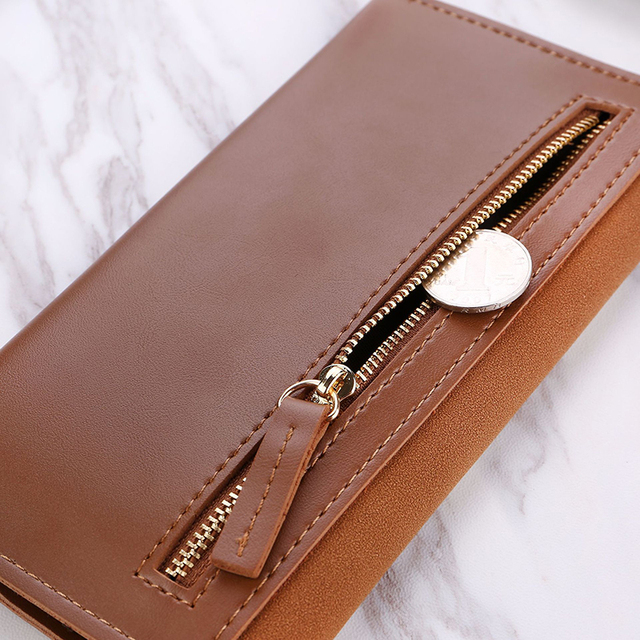 Long V Women Leather Bifold Wallet High Quality Hasp ID Card Holder Billfold Clutch Purse Zip Pocket 3